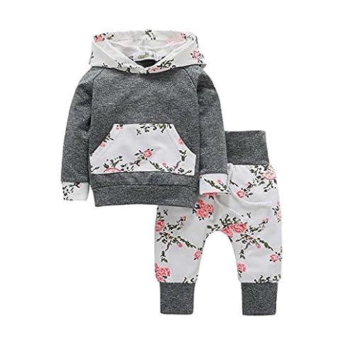 Ensemble de vêtements à Manches Longues, Internet Bébé Fille Sweatshirt à Capuche Léopard + Pantalons (18-24 Mois, Blanc)