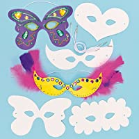 Baker Ross Decorate Your Own Carnival Mask Kit (Pack of 12) Carnival Masks for Kids to Decorate