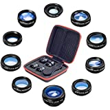 10 in 1 Universal Phone Camera lens kit Clip-on Phone Wide Angle lens, Macro lens, Fisheye lens, Telephoto lens, Kaleidoscope lens, CPL/Flow/Star/Radial Filter for iPhone Samsung Most of Smartphone