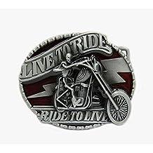 Fibbia per cintura, motivo accessori da motociclista Accendino, motivo: