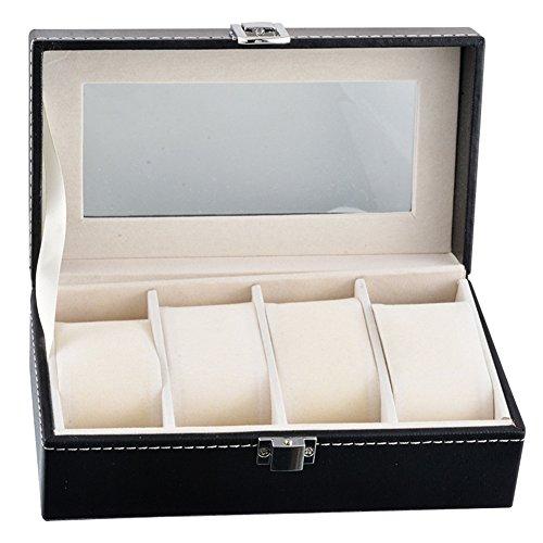 Uhr Vitrine für Männer und Frauen, Liebhaber - 4 Uhren Slots, Luxus Kunstleder Uhrenboxen Veranstalter Schmuck Lagerung, schwarz