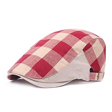 Unisex Flat Checker Plaid Ivy Newsboy Cap Hat (Red)