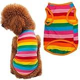 #10: Puppy Shirt, HP95(TM) Summer Rainbow Stripe Pet Shirt Dog Cat Costume Clothing (L)