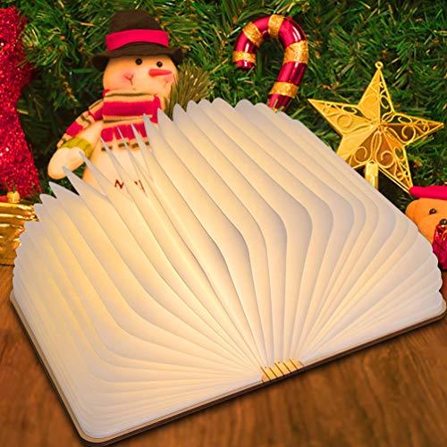 LEDGLE Lampe d'ambiance Cadeau de Noël/Fête Lampe de Chevet Veilleuse Rechargeable en Forme de Livre avec Interface USB