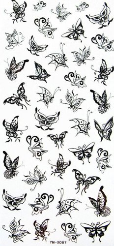 Beaux autocollants vol de tatouage de papillon