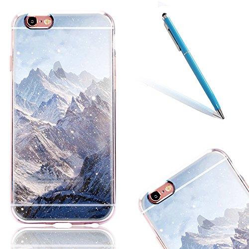 """Handyhülle für 4.7"""" Apple iPhone 7, iPhone 7 Klare Motiv Case, CLTPY Luxus Schlank Hybrid Silikon Stoßfest Schale Cover, Malerei 3D Landschaft Series TPU Fall-Abdeckung für iPhone 7 + 1 Stylus - Elch Mount Everest"""