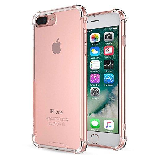 Cover iPhone 7 Plus 8 Plus Vetro Temperato, EUFO Custodia Cover Apple iPhone 7 Plus 8 Plus Trasparente Bumper Silicone Morbido TPU Gomma Back Case Resistenti Antiscivolo Antiurto + Pellicola Protettiv Shockproof