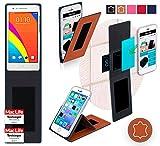 reboon Hülle für Oppo Mirror 3 Tasche Cover Case Bumper | Braun Leder | Testsieger