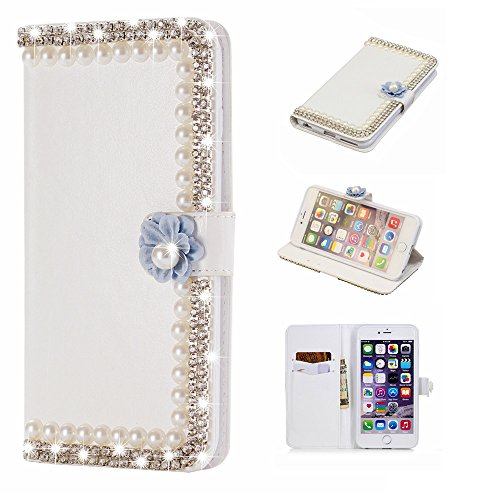 fitmore Compatible iPhoneXr 6.1 inch - Protective Back Shell Protection Leather Case/Cover / Bumper/Skin / Cushion - Fashion Art Collection (Pearls Frame) - Clip-art Frames