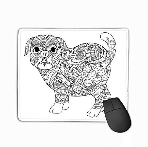 Mousepad Custom Design Gaming Mouse Pad Rubber Oblong Mouse Mat 11.81 X 9.84 Inch line Art Design Cute Pug Dog Design Element Design Adult Coloring Book Page -