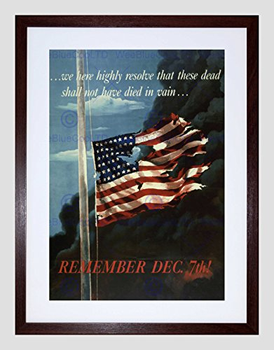PROPAGANDA WWII WAR PEARL HARBOR FLAG STARS STRIPES FRAMED ART PRINT B12X11209 (Star Harbor)