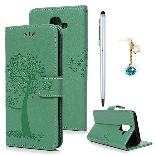 A6 Plus 2018 Hülle Leder Case für Samsung Galaxy A6 Plus 2018 Schutzhülle Wallet Flipcase Eule Baum PU Leder Handyhülle Handytasche Etui Schale Geldbörse Karteneinschub Magnetverschluß Klapptasche Ständer Tasche Mint grün