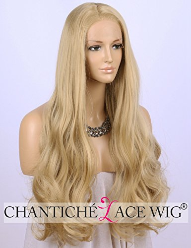 Chantiche Glueless Blonde Wavy Wig Long Soft Hair Halloween Synthetic Lace Front Wigs for Girls Half Hand Tied 24 Inch