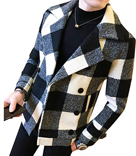 CuteRose Mens Cashmere Feel Check Slim Casual Thickening Coat Jacket 2 XL Varsity Check