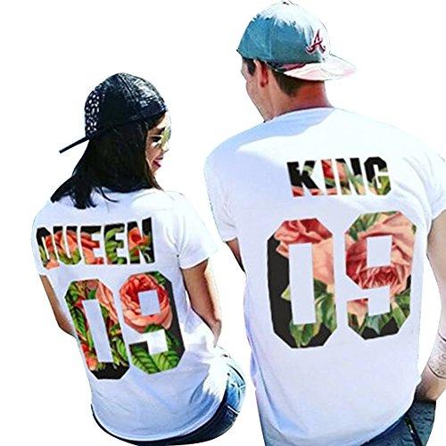 LangÄrmeliges T-shirt Set (Tomwell Paar Pärchen Pullover Set Hoodies Langarm Kapuzenpulli Sweatshirt Pullover Tops Bluse Queen King 09 Drucken Kapuzen Sweatshirt 2 Stücke 09 (King/Queen) EU XS (Herren))