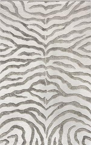 nuLOOM New Zealand Faux/Silk Zebra Carpet Rug, Grey, 122 x