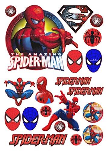 20vorgeschnittenen Essbarer Zuckerguss Spiderman Jungen Kuchen Dekoration Topper Geburtstag Party