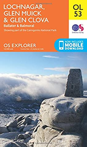 OS Explorer OL53 Lochnagar, Glen Muick & Glen Clova (OS Explorer Map)