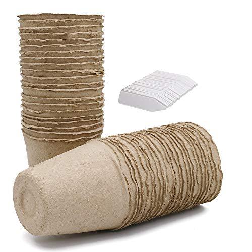 100 Stück Abbaubare Anzuchttöpfe Kleine runde Fibre Töpfe Ø 8 cm, 100 Stück Kunststoff Pflanzenetiketten weiß 1 x 5 cm