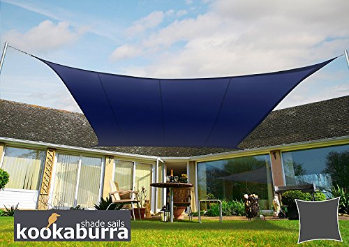 Primrose kookaburra - tessuto ombreggiante quadrato, impermeabile, per feste in giardino, 3 m, blu