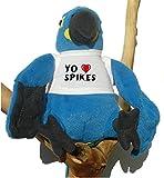 Loro azul de peluche con Amo Spikes en la camiseta (nombre de pila/apellido/apodo)