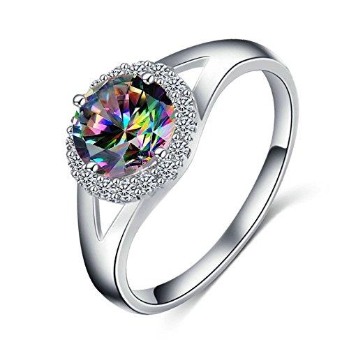 Bishilin Ringe für Damen Versilbert mit Bunte Zirkonia Rund Eherring Verlobungsringe Silber Größe 52 (16.6)