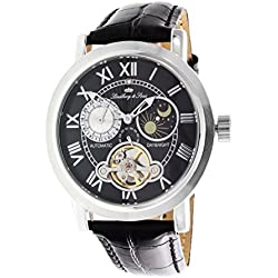 Lindberg & Sons wrist watch for men with a real diamond - 24h function - Automatic movement Analog Black leather bracelet - CAP13G205A