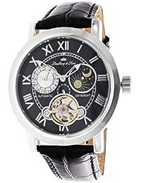 Lindberg & Sons CAP13G205A - Reloj mecanico automatico analogico de pulsera con diamante real para hombre, visualizacion de 24 horas, con correa de cuero negro