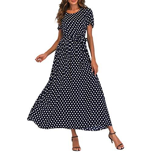 COZOCO 2019 Party Kleid Frauen Oansatz Cocktailkleid Kurzarm Strand Abendkleider Kleid Tupfen Verband Lange Maxi Kleid (Dot Mouse Polka Rock Minnie)