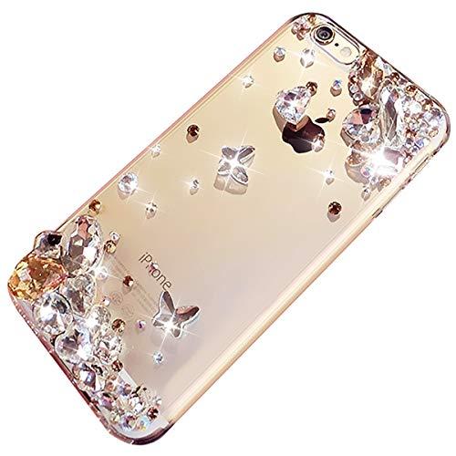Felfy Kompatibel mit Hülle iPhone 7 Plus / 8 Plus Glitzer Handyhülle Silikon Glitzer Silikon Hülle Durchsichtig Transparent TPU Silikon Back Cover Glänzend Glitzer Bling 3D Diamant Strass TPU Case Strass Bling Back Case