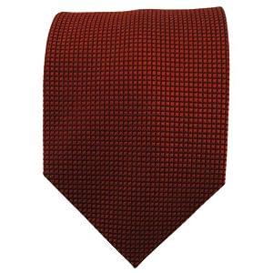 XXL Seidenkrawatte in bronze rotbraun schwarz karopunktstruktur gemustert - Krawatte 100% Seide Silk