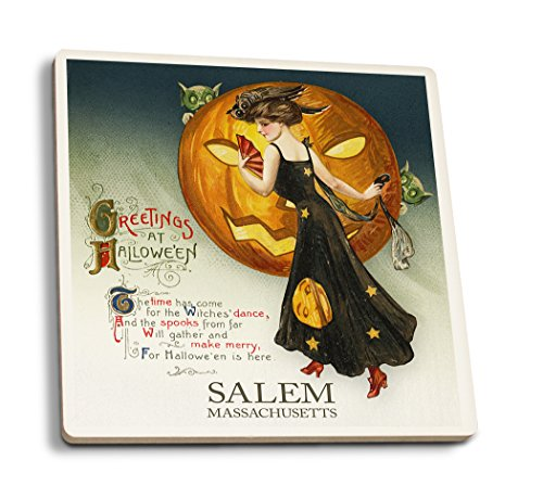 Salem, Massachusetts-Halloween Hexe Dance-Vintage Postkarte, keramik, mehrfarbig, 4 Coaster Set