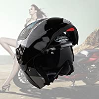 Lente Dual Flip Up Casco Delantero de La Motocicleta (XXL, Negro Brillante)