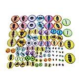 Julie Wang Cabochons für Puppenherstellung und Schmuck, verschiedene Größen, rund, Glas, Drachenauge, 90 Stück