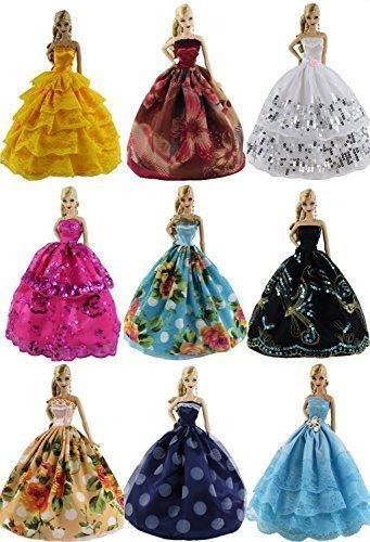 ZITA ELEMENT Los 5 PCS Mode Handgefertigte Abendkleider Besondere Anlässe Bunte Kleider+ 10 Schuhe für Barbie Puppe Christmas gift