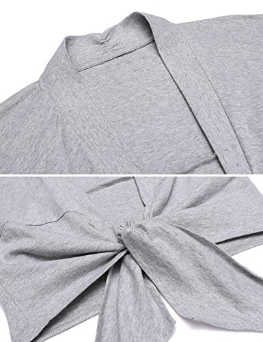 Parabler Damen Bolero Langarm Jäckchen Kurz Strickjacke Jäckchen Cardigan Schulterjacke für Retro Kleider Top Grau