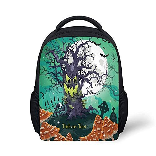 Kids School Backpack Halloween Decorations,Trick or Treat Dead Forest with Spooky Tree Graves Big Kids Cartoon Art,Multi Plain Bookbag Travel Daypack