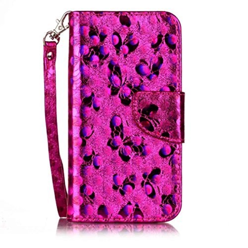 For Samsung Galaxy S7,GBSELL 3D Patterned Magnetic Flip Stand PU Leather Cover Case (Hot Pink)