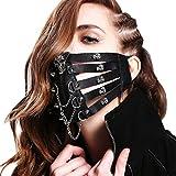 Besttimes Totenkopf Rock Stage Perform Punk Herren Damen Leder Maske Steampunk Skelett Motorrad Biker Eishockey Radfahren Winter Half Face Mask Masquerade, Stil 1, Einheitsgröße
