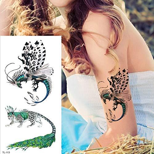 tzxdbh vorübergehende Tätowierungen Libelle Tatoo Karikatur-Tier-Tätowierungsphoenix-Fälschung Tatoo Engelsfuchsadler-Pferdetätowierungs-Aufkleberfrauen