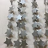 Girlande aus silbernen Sternen, 3 Meter