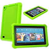 "TECHGEAR� Bumper Case for All new Amazon Fire 7"" (2017 Edition / 7th Gen) Rugged Heavy Duty Anti-Shock Rubber Protective Case with Added Corner & Edge Protection and Easy Grip Design + Screen Protector [GREEN] - Kids & School Friendly Case"