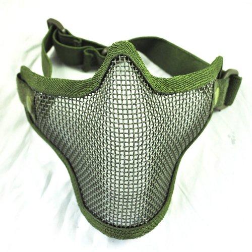 (Kohlenstoffstahl Streik Stil Airsoft Mesh Maske Halbes Gesicht (Armee Gr?n))