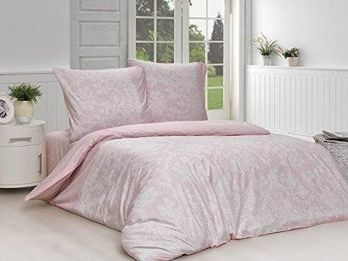 Bettwäsche Set 2 TLG. Baumwolle Renforcé Reißverschluss, 135x200 cm, Rosa, Ranken Arabeske