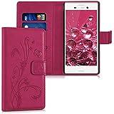 kwmobile Funda para Sony Xperia M4 Aqua - Wallet Case plegable de cuero sintético - Cover con tapa tarjetero y soporte Diseño hiedra mariposa en rosa fucsia