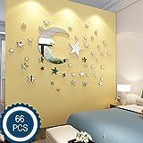 Lune et étoiles Stickers Muraux - 30cm La Plus Grande Lune Avec 66 pièces Étoiles de Taille Différente - pour La Décoration de Chambre pour Bébé Enfant - Fairy Atmesphere Création