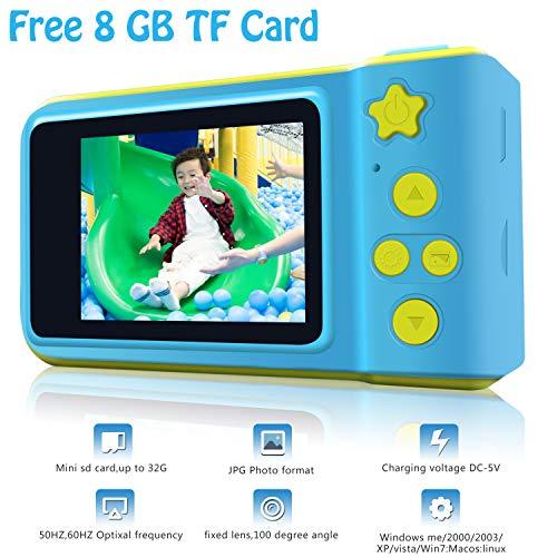 Cámara Digital para niños HD 1080P con Tarjeta TF de 8 GB para niños, cámara con Pantalla de 2.0 Pulgadas, cámara de Juguete para niños y niñas, Regalo de cumpleaños, cámara Deportiva con 5 Juegos