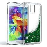 EAZY CASE GmbH Samsung Galaxy S5 / S5 LTE+ / S5 Duos / S5 Neo Schutzhülle mit Flüssig-Glitzer, Handyhülle, Schutzhülle, Back Cover mit Glitter Flüssigkeit, Silikon, Transparent/Durchsichtig, Grün