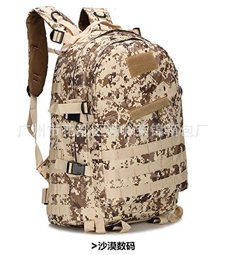 Multifunktionale Rucksack 40 L Double Shoulder Bag Outdoor wandern Camouflage bergsteigen Tasche 46 * 33 * 18 cm, drei sand Camouflage Drei Sand camouflage