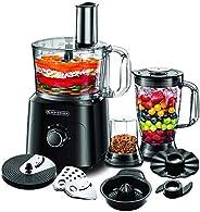Black+Decker Food Processor with Chopper, Blender, Grinder, Citrus Juicer & Dough Maker, 750W, 34 Function